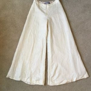 Pants - Wool palazzo pants with gold lurex threads.